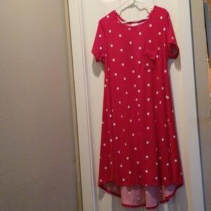 Lularoe Minnie red and white polka dot Carly sz L